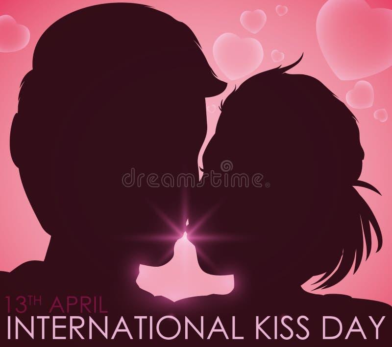 Junte la silueta en el amor que celebra día internacional del beso en abril, ejemplo del vector ilustración del vector