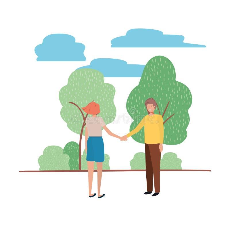 Junte llevar a cabo las manos con el carácter del avatar del paisaje libre illustration