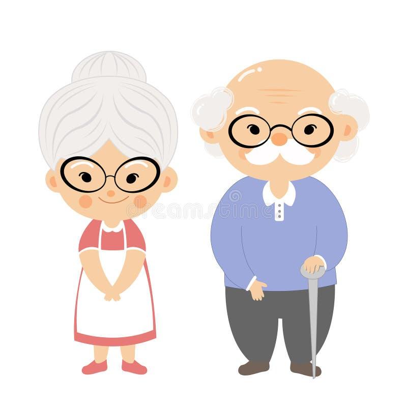 Junte a los ancianos con la cara de la sonrisa stock de ilustración