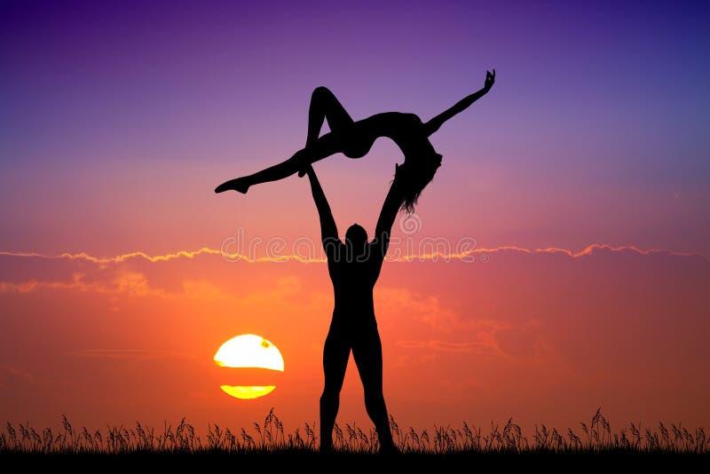 Junte a los bailarines en la puesta del sol stock de ilustración