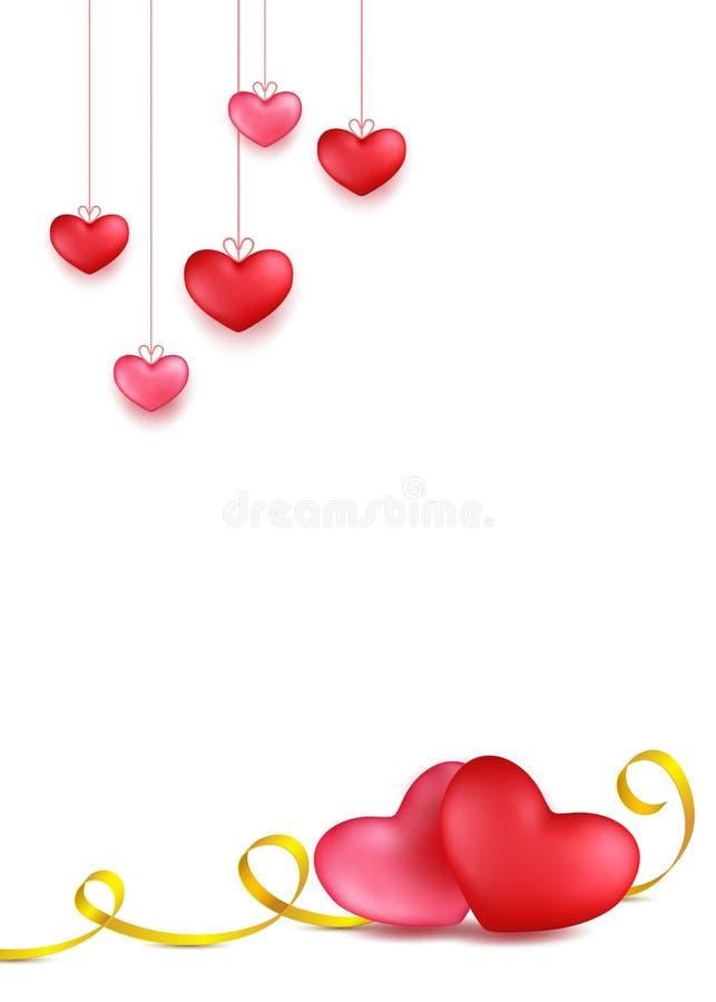 Junte los corazones con la raya de oro de la caligrafía Colgante del corazón rojo, color de rosa Diseño de la tarjeta de felicita ilustración del vector