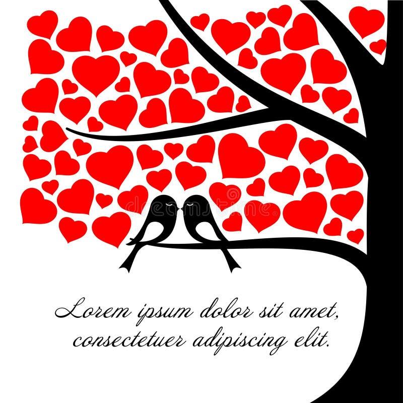 Junte los pájaros preciosos en el árbol y el día de tarjeta del día de San Valentín de las hojas del corazón o el fondo rojo del  stock de ilustración