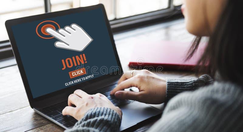 Junte-se à aplicação do recrutamento seguem o conceito em linha do Web site fotografia de stock royalty free