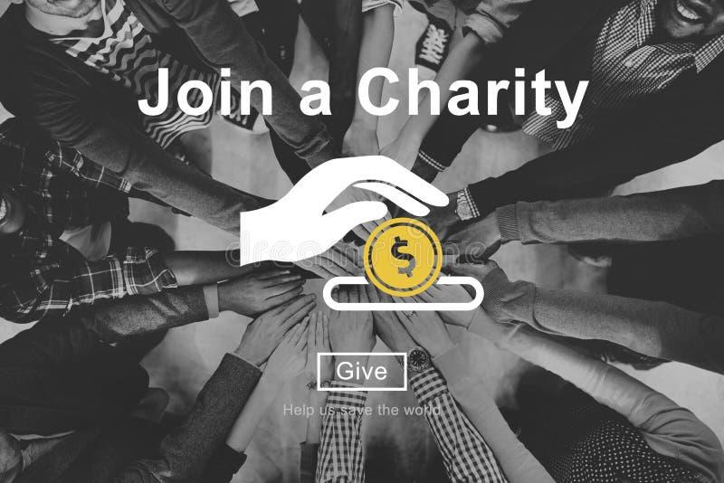 Junte-se à caridade dão o conceito do dinheiro foto de stock royalty free
