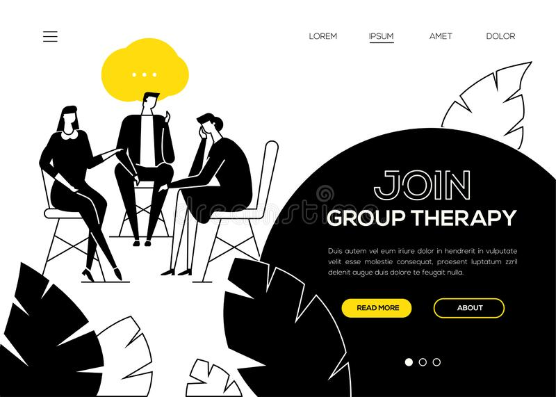 Junte-se à terapia do grupo - bandeira lisa da Web do estilo do projeto ilustração stock