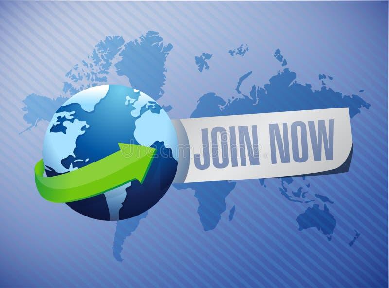 Junte-se agora ao conceito internacional do sinal do fundo ilustração do vetor