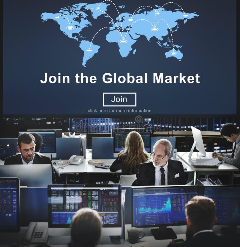 Junte-se ao conceito comercial de Digitas da campanha do mercado global imagem de stock