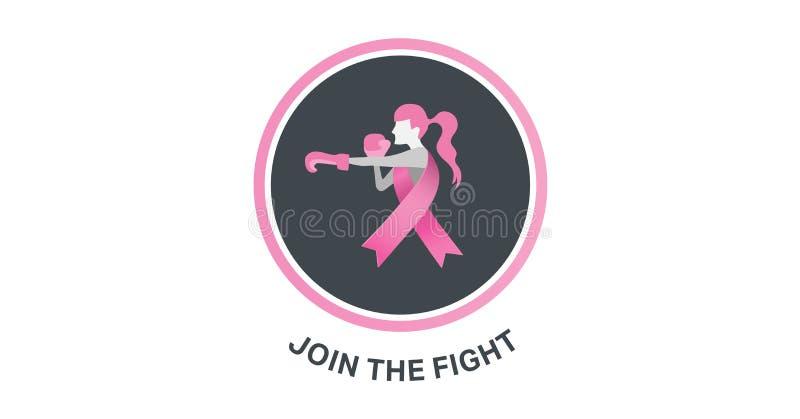 Junte-se ao conceito da conscientização do texto e do câncer da mama da luta ilustração do vetor