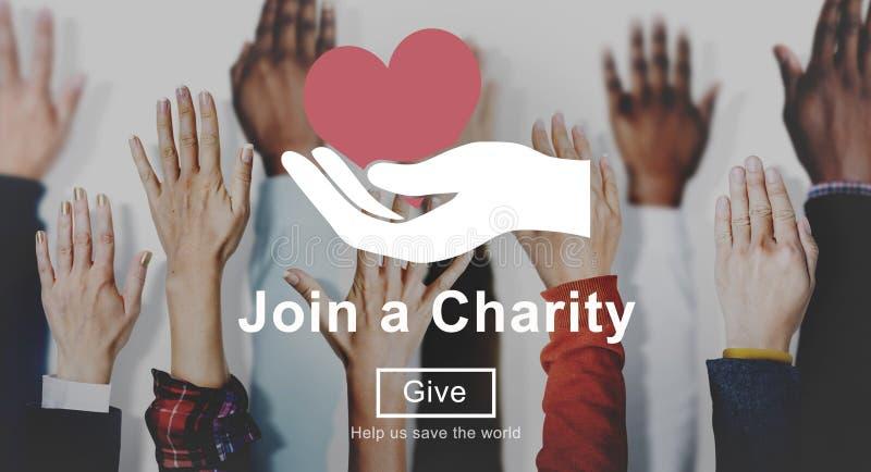 Junte-se ao conceito do símbolo da mão do coração da caridade imagem de stock