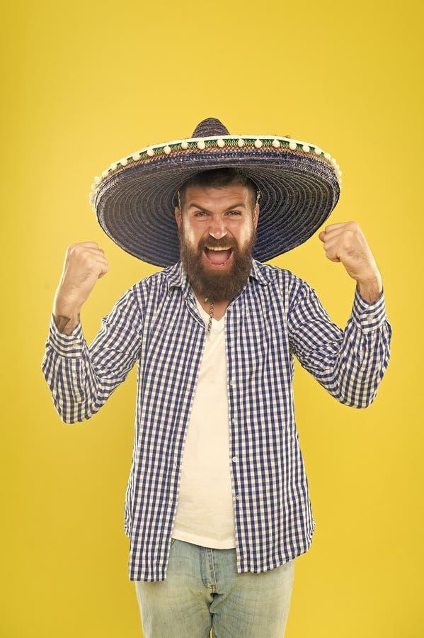 Junte-se ao conceito mexicano da cultura do fest Comemore o feriado mexicano Indiv?duo farpado mexicano pronto para comemorar Cos fotos de stock