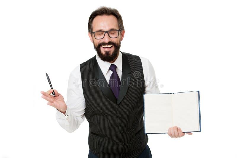 Junte-se ao evento da academia do negócio da elite O branco formal do bloco de notas da posse da roupa do homem explica o assunto foto de stock