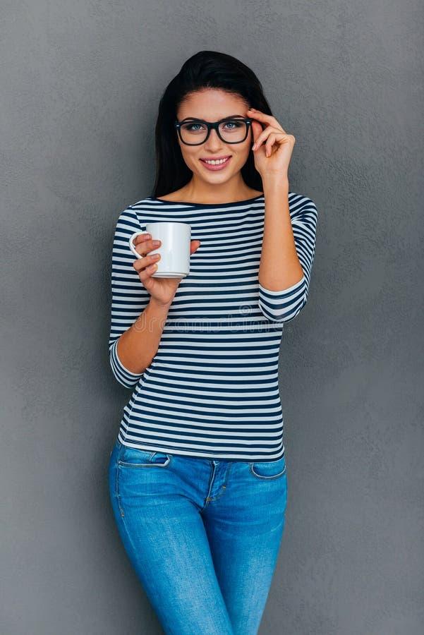 Junte-se me na ruptura de café! fotografia de stock