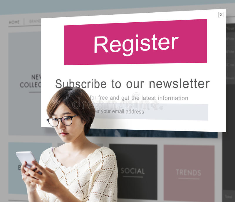 Junte-se nos conceito do boletim de notícias do registro foto de stock royalty free