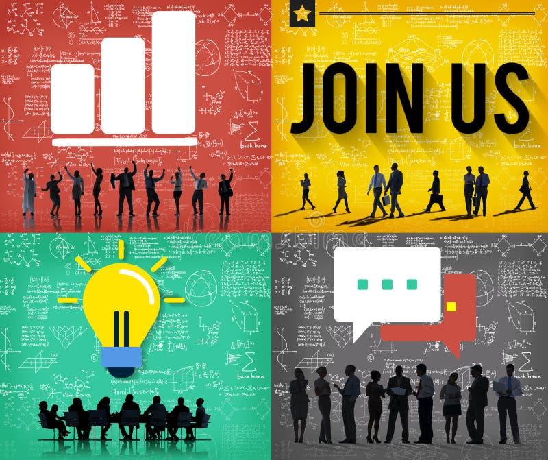 Junte-se nos conceito do meio de informação do negócio do contato ilustração stock