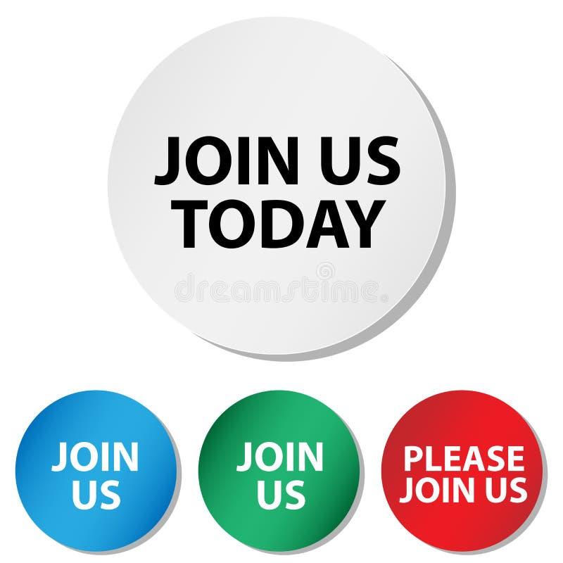 Junte-se nos hoje botões ilustração stock
