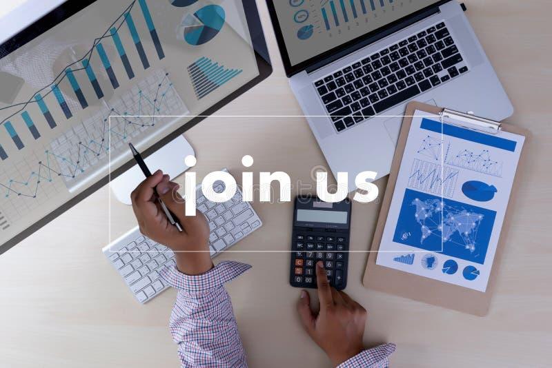 Junte-se nos homem de negócios do conceito que trabalha no escritório PARA JUNTAR-SE a NOSSA EQUIPE imagens de stock royalty free