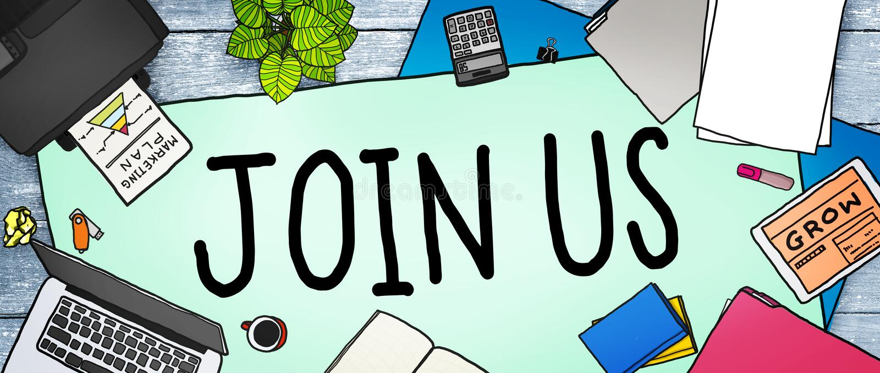 Junte-se nos Team Assistance Support Invitation Concept ilustração do vetor