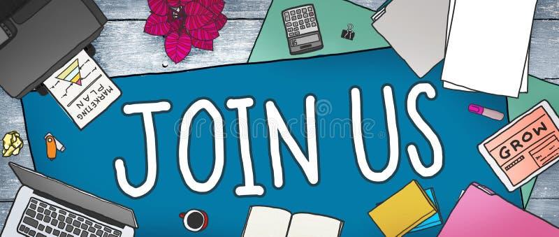 Junte-se nos Team Assistance Support Invitation Concept ilustração royalty free