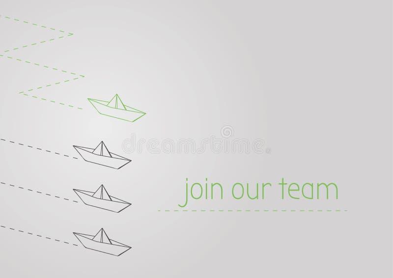 Junte-se a nossa equipe com o barco de papel dobrado ilustração do vetor