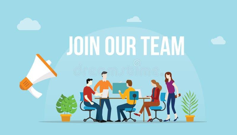 Junte-se a nosso conceito da equipe com os povos da equipe que trabalham junto na mesa ilustração do vetor
