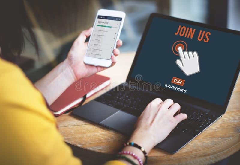 Junte-se que nos a aplicação do recrutamento segue o conceito em linha do Web site fotografia de stock
