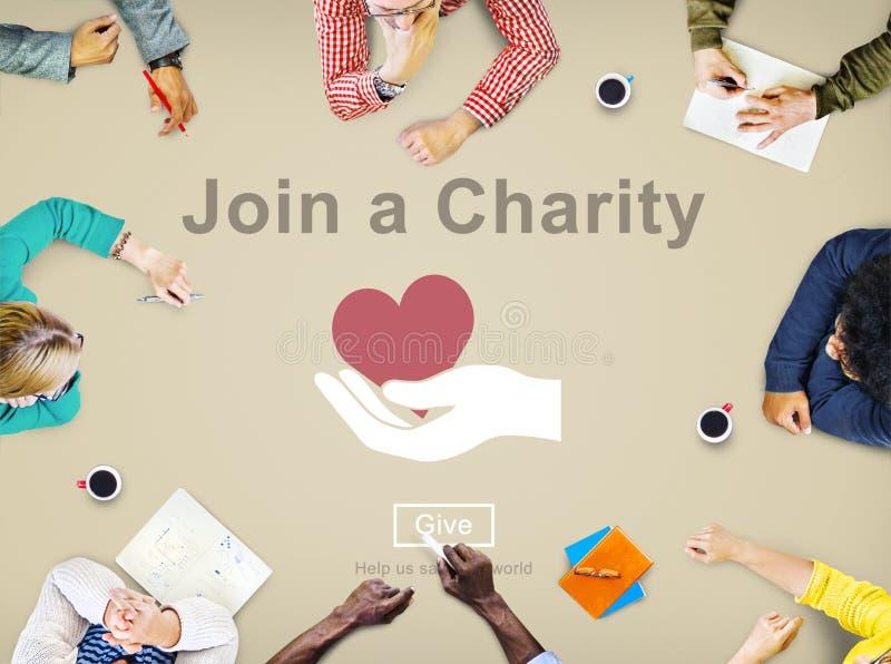 Junte-se a um conceito do amor do cuidado do convite da ajuda da caridade imagem de stock