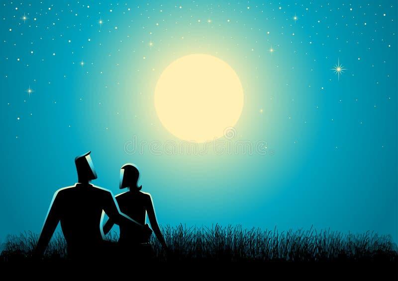 Junte sentarse en la hierba que mira la Luna Llena stock de ilustración