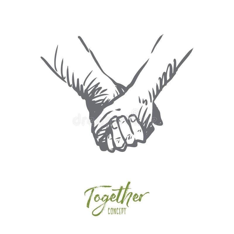 Junto, manos, amistad, amor, concepto de la sociedad Vector aislado dibujado mano libre illustration