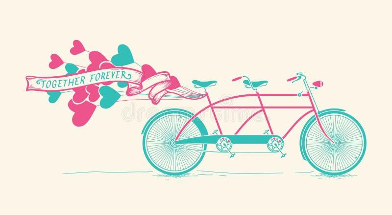 Junto para siempre - la bicicleta en tándem del vintage con los corazones hincha ilustración del vector