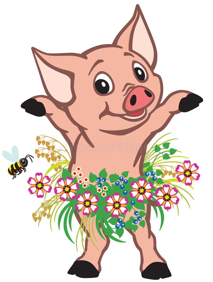 Jupe de port de petit porc de bande dessinée des fleurs illustration de vecteur