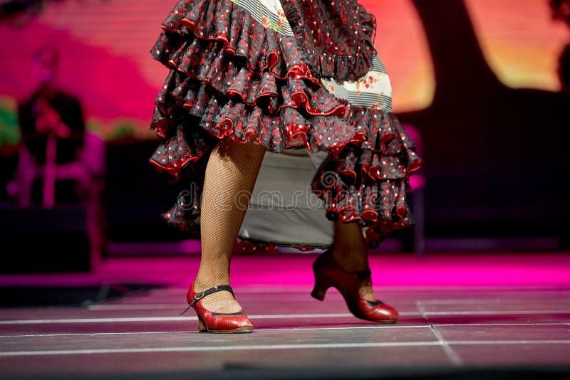 Jupe et chaussures de flamenco de danse de jambes de femme pour la copie photographie stock