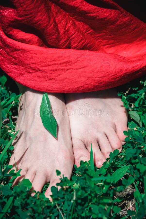 Jupe rouge nu-pieds photo stock