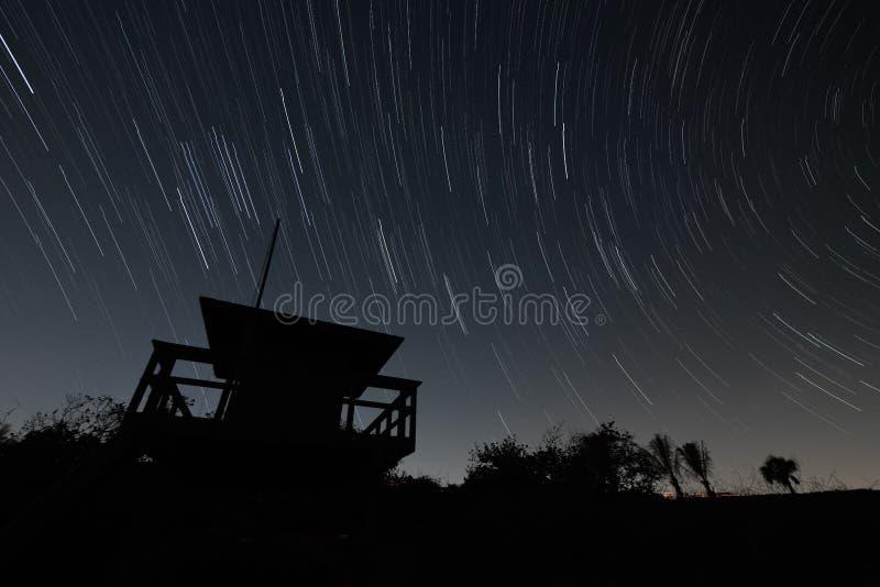 Star Trail. Jupiter Beach, Florida. United States. Star trail at the beach royalty free stock photo