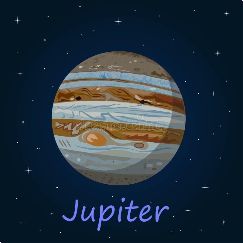 Jupiter is de vijfde planeet van de Zon en grootst in het Zonnestelsel royalty-vrije illustratie