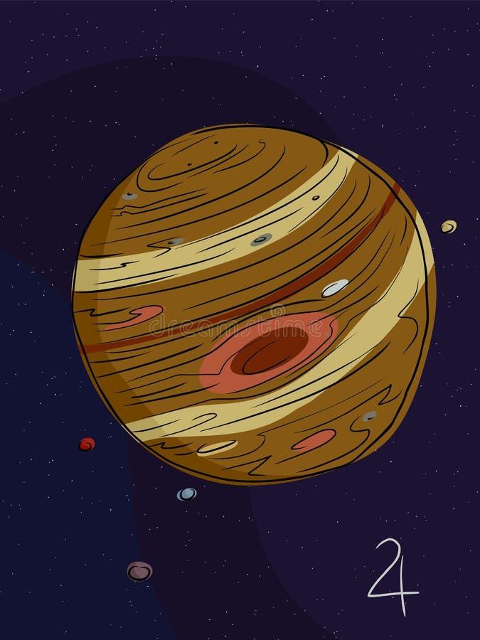 Jupiter et les quatre lunes illustration libre de droits