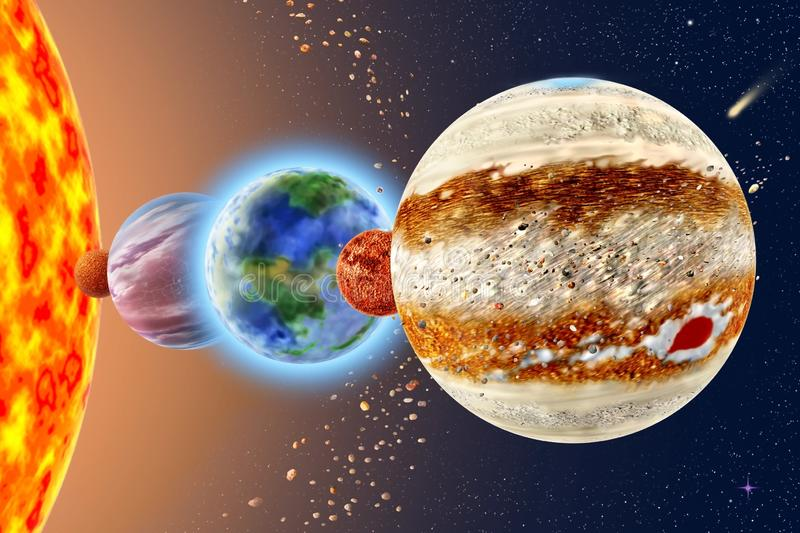 Jupiter - a fifth planet of the solar system. On background Sun and starry sky royalty free stock photos
