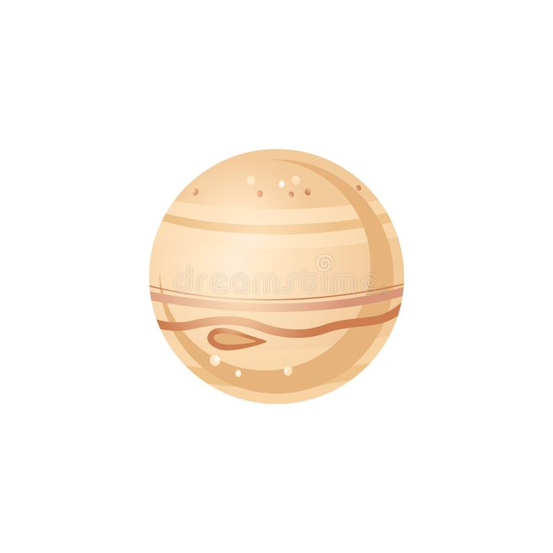 Jupiter in flat style - vector illustration of largest planet of solar system. Brown sphere celestial body isolated on white background for outer space royalty free illustration