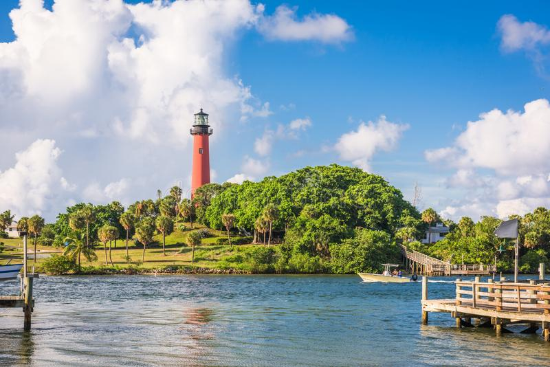 Jupiter, Florida, USA inlet and light house. In the afternoon royalty free stock photos