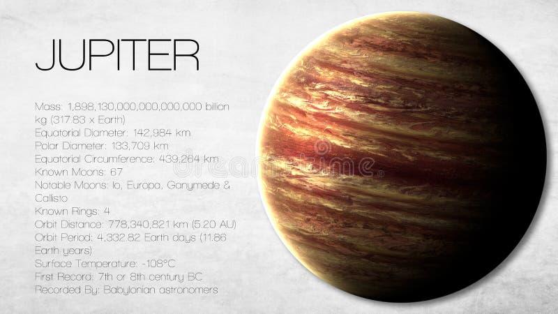 Jupiter - hög upplösning Infographic framlägger en arkivfoto