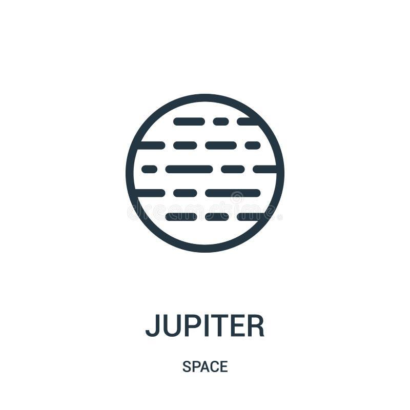 Jupiter-Ikonenvektor von der Raumsammlung Dünne Linie Jupiter-Entwurfsikonen-Vektorillustration lizenzfreie abbildung
