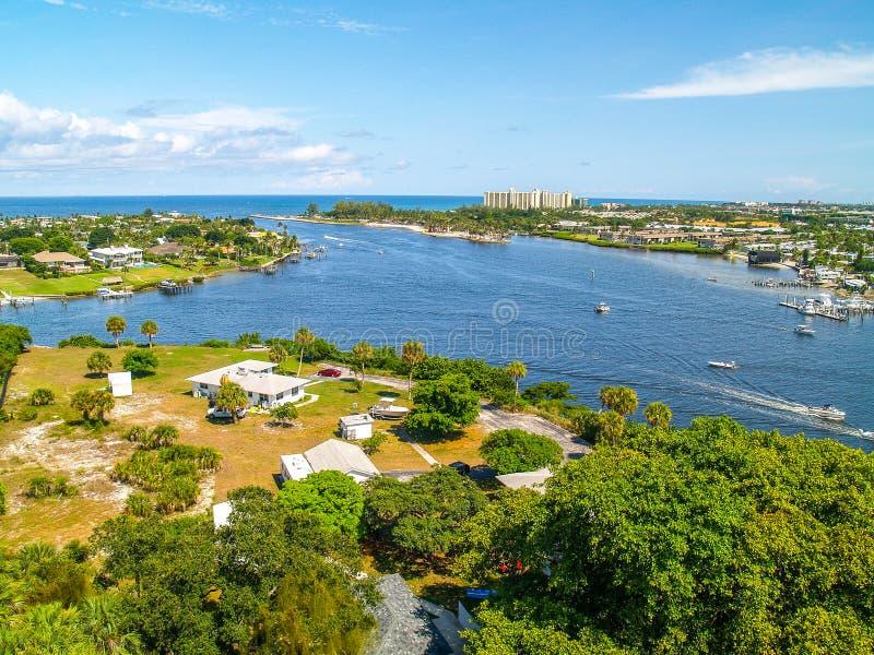 Jupiter Inlet cerca de West Palm Beach, la Florida foto de archivo libre de regalías