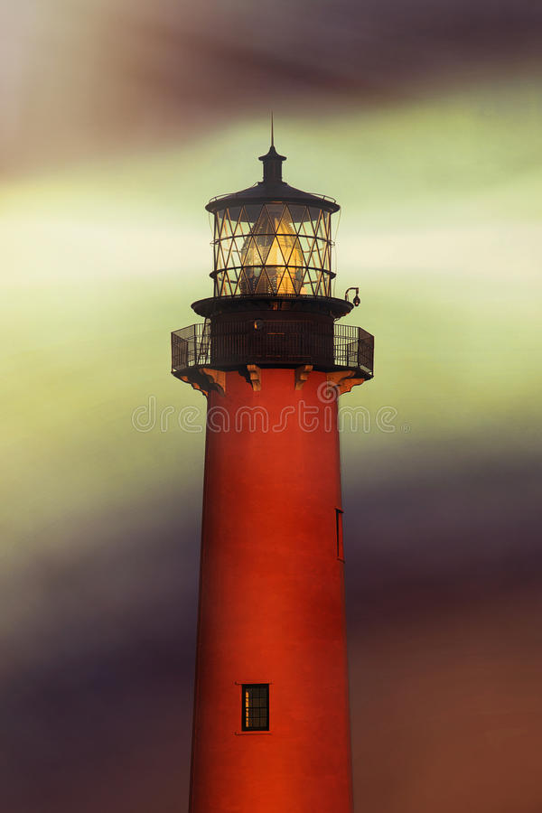Jupiter Inlet Lighthouse. With light beams stock image