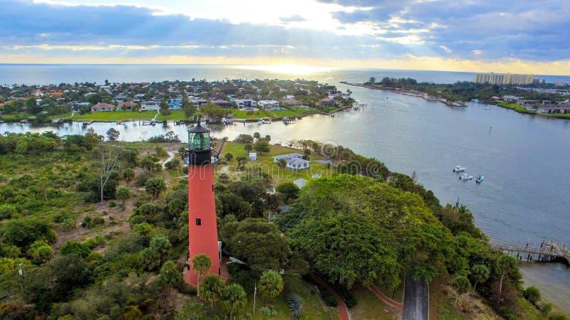 Jupiter Inlet Lighthouse på Jupiter, FLORIDA arkivfoto