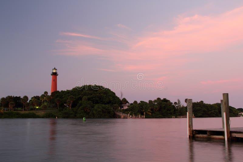 Jupiter Inlet Lighthouse y muelle imagen de archivo