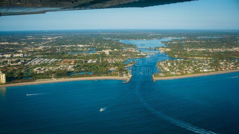 Jupiter latarni morskiej wpusta Atlantycki ocean Floryda obrazy stock