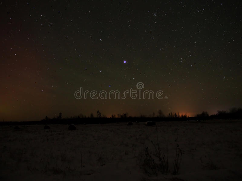 Night sky stars and Jupiter stock images