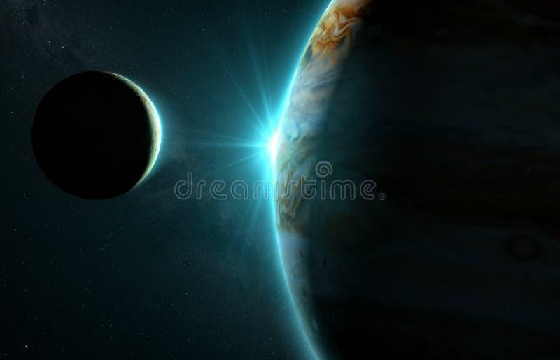 Jupiter och måne Io royaltyfri foto