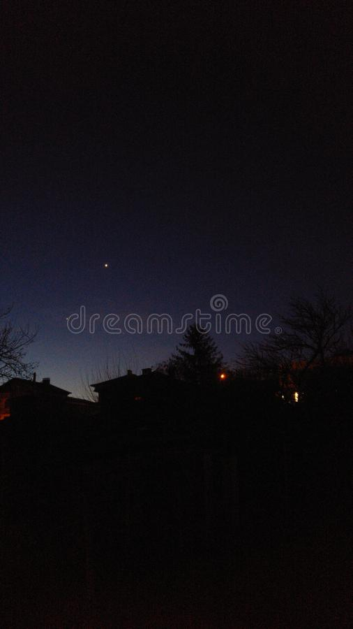 Jupiter och Venus arkivbild