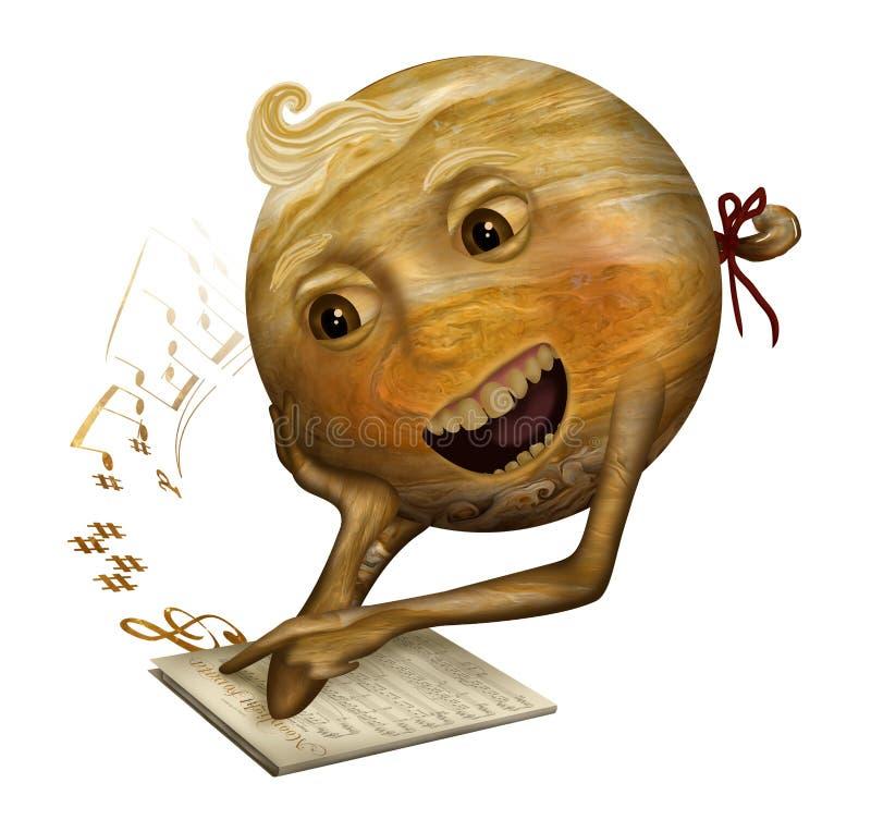 Jupiter som lär att sjunga royaltyfri illustrationer
