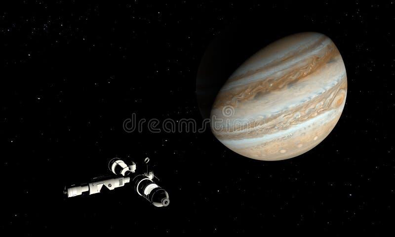 Jupiter und Raumschiff Astronomie- und Wissenschaftskonzept Nahtloses Muster des Vektors Abbildung 3D lizenzfreie abbildung